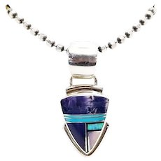 Vintage Sterling Silver Native American Blue and Purple Inlay Pendant, Jasper, Opal, Mother of Pearl and Turquoise Inlay
