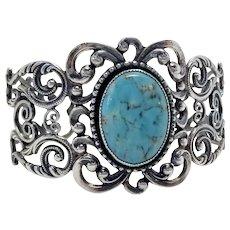 Danecraft Sterling Art Nouveau Style Filigree & Glass Cabochon Vintage Cuff Bracelet