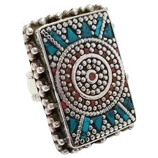 Large Rectangle Statement Low Grade Silver Ring With Turquoise and Coral Chips Size 7.5, Aztec Style, Indian Style
