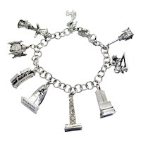 Vintage Kinney Sterling Silver Chicago Landmark Charm Bracelet, John Handcock, Marina City, Picasso, Chicago loop/El Train, Marshall Fields Clock, Key, State and Madison, Watertower, Mrs. O'Learys Cow