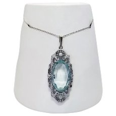 Art Deco Style Sterling Silver Aquamarine Glass Pendant Necklace