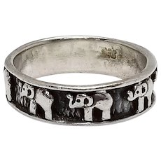 Sterling Silver Elephant Band Ring Size 12