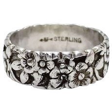 Vintage Art Nouveau Sterling Silver Flower Forget Me Not Ring Signed Uncas