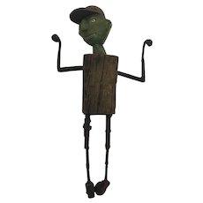 William Skrips Folk Art Boy With Baseball Hat Found Art