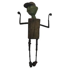 William Skrips Folk Art Boy With Baseball Hat Found Art