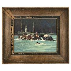 Merlin Enabnit Western Scene Oil on Board Painting
