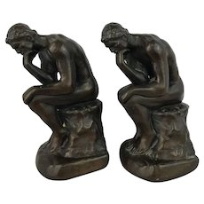"""Vintage Auguste Rodin's """"The Thinker"""" Bookends"""