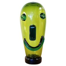 Mid Century  Happy Smiley Face Blown Glass Head With Applied Glass Face