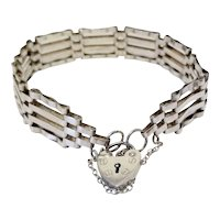 Vintage Alistair Stewart Jewelers London Sterling Silver Equestrian Gate Link Bracelet & Heart Padlock British Hallmarks
