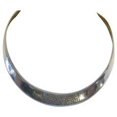 Vintage Mexican Taxco 925 Sterling Silver Hammered Collar Necklace, Mexico, Torc, Torque, Modernist, Thick Sterling