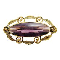 Antique English Victorian 9K Yellow Gold Delicate Botanical Leaf Motif Pin Brooch with Gorgeous Faceted Purple Amethyst Stone Center