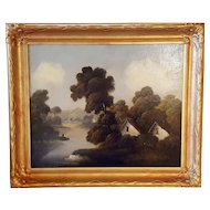 Early 20th Century Oil on Canvas (Linen) House on the Water WithTrees and Mountains In Gold Frame