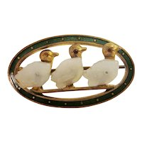 Antique Victorian Gold Plated Emerald Green Enameled Delicate Brooch Pin with Sweet Playful Ducks in a Row White Glass Feather Details