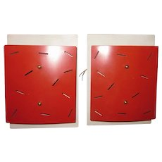 Pair Vintage French Postmodern Late Midcentury Charlotte Perriand Style Red & White Perforated Memphis Style Wall Sconces Accent Lighting