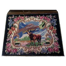 Art Deco Petit Point Cigarette Case with Deer Buck Stag and floral Mountain Motif