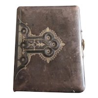 Victorian leather bound photo album with Fleur De Lis raised relief gold embelishments-Wedding Album: Fleur De Lis Album