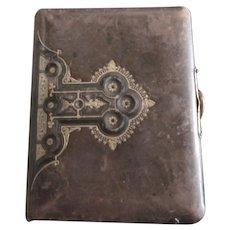 Victorian leather bound photo album with Fleur De Lis raised relief gold embelishments-Wedding Album: Fleur De Lis Album