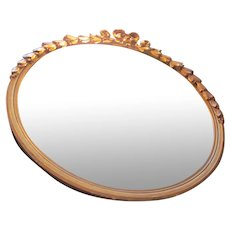 Vintage French Gold Gilt round Mirror with Bow and ribbon motif
