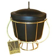 Vintage 1950's Ernest Sohn Ice Bucket MCM NWT Black and Gold