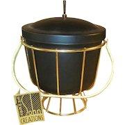 Vintage 1950's Ernest Sohn Ice Bucket MCM NWT Black and Gold
