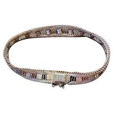Vintage Sterling Silver Diamond Cut Bracelet