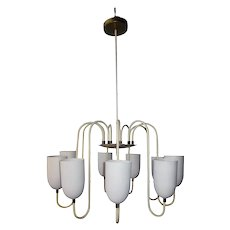 pending purchase! Elegant, Artful Vintage French MCM Matte White 9-Arm Curvilinear Chandelier With Chic Simple Shades