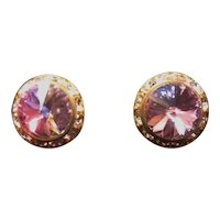 Vintage AB Purple Pink faceted Crystal Clip on Stud Earrings with Gold tone Halo-Bridal earrings: Special Stud Earrings: Aurora Borealis Studs: