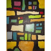 Vintage Abstract Painting on Board by Reims 1962-Stained Glass Window