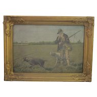 Vintage Framed Acrylic On Canvas On Board Hunting Scene, Artist Unknown