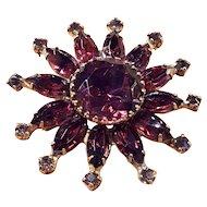 Vintage Purple Amethyst Glass Rhinestone Gold Tone Brooch Pin