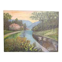 Antique 19th Century Primitive Folk Art Landscape Rural Mountain Scene Oil on Canvas River and Farmhouse Scenery