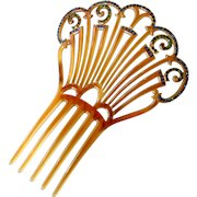 Art Deco Celluloid Hair Comb with Rhinestones