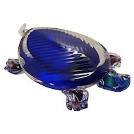Colorful Large Art Glass Turtle Signed S/R