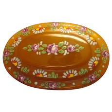 Gorgeous Large Vintage Apple Juice Bakelite Statement Brooch Pin with Hand Painted Intricate Multicolor Floral Detail