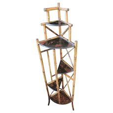 Antique 19th C Art Nouveau Bamboo And Chinoiserie Corner Etagere