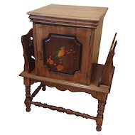 Vintage Copper Lined Wooden Humidor Magazine Shelf with Bird Painting Tobacciana Cabinet Chest