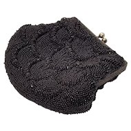 French Art Deco Black Seed Bead Mermaid Fish Scale Purse