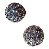 Vintage Blue and Purple Aurora Borealis AB Clip On Earrings