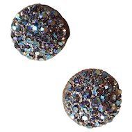 Vintage Blue and Purple Aurora Borealis AB Clip On Earrings