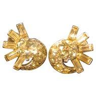 Clip on Rhinestone Earrings: Designed by H. Bogoff: Designer Jewelry: