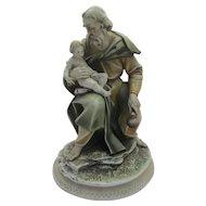 "Large Borsato Porcelain Figural Group Titled ""Joseph with Baby Jesus"""