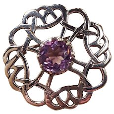 Irish Celtic Love Knot Gaelic Amethyst Sterling Silver Pin Brooch
