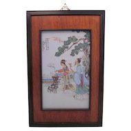 Mid 20th c. Chinese Famille Rose Porcelain Plaque, Man and Woman with Incense