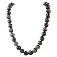 Vintage Hand Knotted Cloisonne Blue floral beaded Necklace