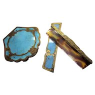 Antique Italian 800 Silver and Faux Turquoise Enameled Coppini Compact and Comb Set New Old Stock