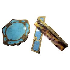 Antique Italian 800 Silver and Faux Turquoise Enameled Coppini Compact and Comb Set New Old Stock, bridal something blue
