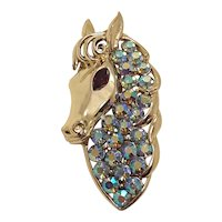 Vintage Coro Blue AB Rhinestone Horse Pony With Ruby Red Eye Goldtone Brooch