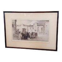 "Rare Edgar Chahine ""Campo Santa Margareta Venise"" Venice Etching Hand-Signed Etching 52/100"