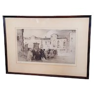"Rare Edgar Chahine ""Campo Santa Margareta Venise"" Venice Etching Hand-Signed Etching 52/100"