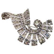 Vintage Mid-1940s Eisenberg Sterling Silver and White Crystal Pin Brooch with Swirling Cornucopia Shape